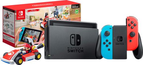 Nintendo Switch (2019 Upgrade) Rood/Blauw + Mario Kart Live: Home Circuit - Mario Set Main Image