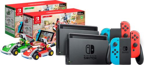 Mario Kart Live pack - 2x Nintendo Switch (2019 Upgrade) Red/Blue + Mario and Luigi Set Main Image