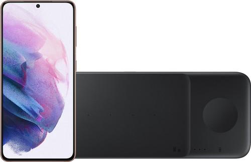 Samsung Galaxy S21 128GB Paars 5G + Samsung Trio Draadloze Oplader 9W Zwart Main Image