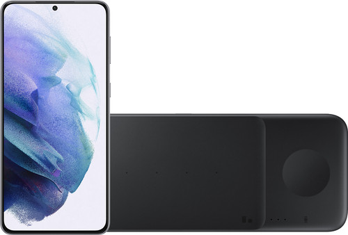 Samsung Galaxy S21 Plus 128GB Zilver 5G + Samsung Trio Draadloze Oplader 9W Zwart Main Image
