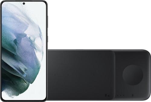 Samsung Galaxy S21 Plus 256GB Zwart 5G + Samsung Trio Draadloze Oplader 9W Zwart Main Image