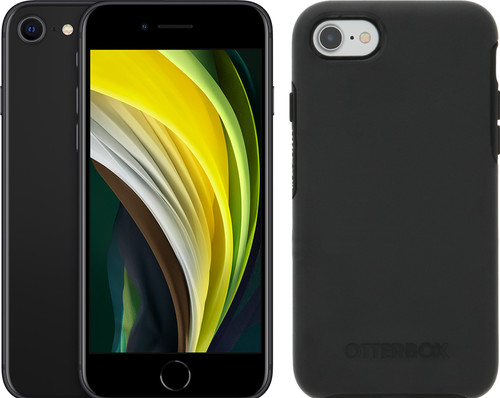 Apple iPhone SE 64GB Zwart + Otterbox Symmetry Back Cover Zwart Main Image