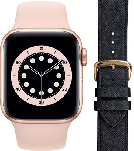 Apple Watch Series 6 40mm Roségoud Roze Bandje + DBramante1928 Leren Bandje Zwart/Roségoud Main Image