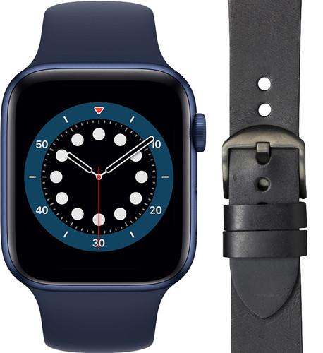 Apple Watch Series 6 44mm Blauw Blauw Bandje+ DBramante1928 Leren Bandje Zwart/Space Gray Main Image