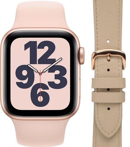 Apple Watch SE 40mm Rose Gold Pink Sand Strap + DBramante1928 Leather Strap Cream/Rose Gol Main Image