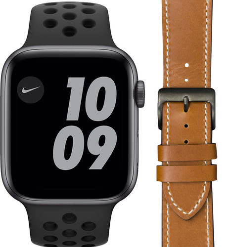 Apple Watch Nike SE 44mm Space Gray Zwart Bandje + DBramante1928 Leren Bandje Bruin Main Image