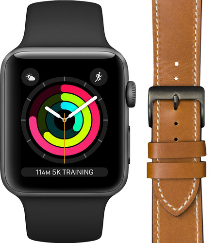 Apple Watch Series 3 42mm Space Gray Black Strap + DBramante1928 Leather Strap Brown Main Image