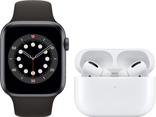Apple Watch Series 6 44mm Space Gray Zwart Bandje + AirPods Pro met Draadloze Oplaadcase Main Image