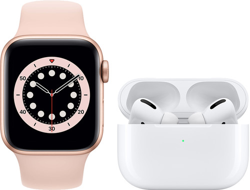 Apple Watch Series 6 40mm Rose Gold Pink Sand Strap + AirPods Pro with Wireless Charging C Main Image