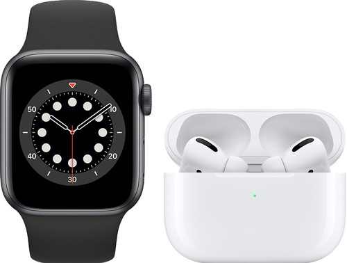 Apple Watch Series 6 40mm Space Gray Zwart Bandje + AirPods Pro met Draadloze Oplaadcase Main Image
