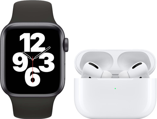 Apple Watch SE 40mm Space Gray Black Strap + Apple AirPods Pro with Wireless Charging Case Main Image