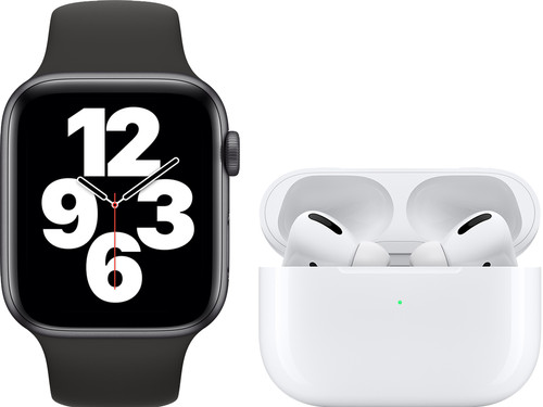 Apple Watch SE 44mm Space Gray Black Strap + Apple AirPods Pro with Wireless Charging Case Main Image