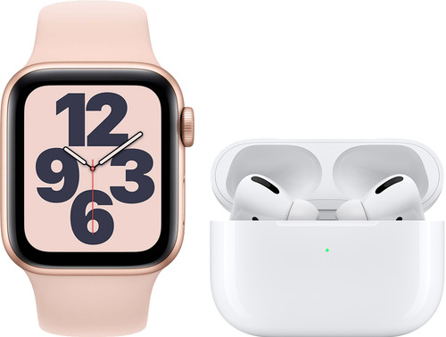 Apple Watch SE 40mm Rose Gold Pink Sand Strap + Apple AirPods Pro Main Image