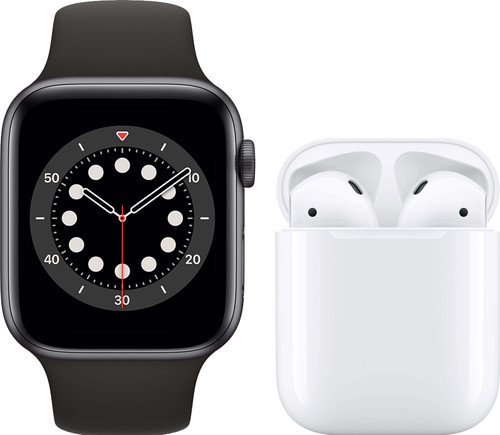Apple Watch Series 6 44mm Space Gray Black Sport Band + Apple AirPods 2 with Charging Case Main Image