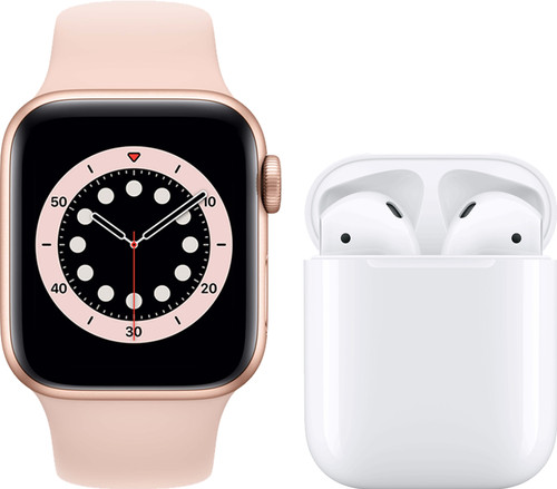 Apple Watch Series 6 40mm Rose Gold Pink Sand Strap + Apple AirPods 2 with Charging Case Main Image