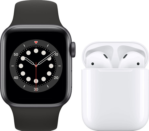 Apple Watch Series 6 40mm Space Gray Black Strap + Apple AirPods 2 with Charging Case Main Image