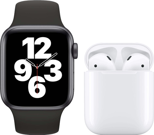 Apple Watch SE 40mm Space Gray Black Strap + Apple AirPods 2 with Charging Case Main Image