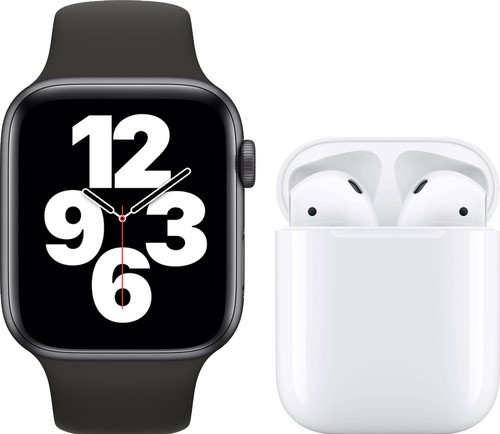 Apple Watch SE 44mm Space Gray Zwart Bandje + Apple AirPods 2 met oplaadcase Main Image