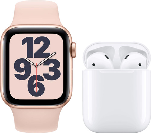 Apple Watch SE 40mm Rose Gold Pink Sand Strap + Apple AirPods 2 with Charging Case Main Image