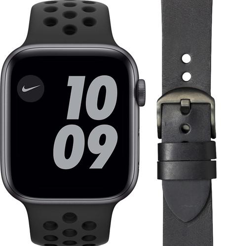 Apple Watch Nike Series 6 44mm Space Gray Zwart Bandje + DBramante1928 Leren Bandje Zwart Main Image