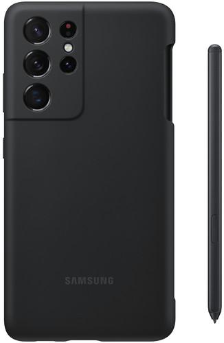 Samsung Galaxy S21 Ultra Siliconen Back Cover Zwart met S Pen Main Image
