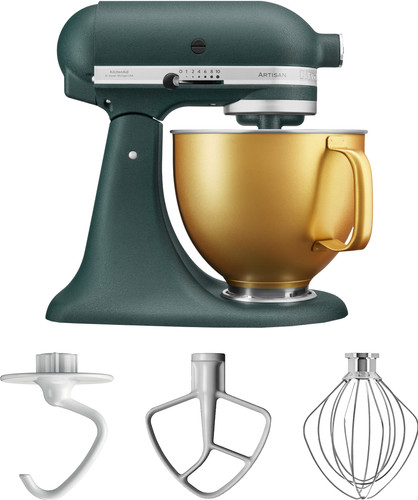 KitchenAid 5KSM156VGEPP Pebbled Palm + Gold Bowl Main Image
