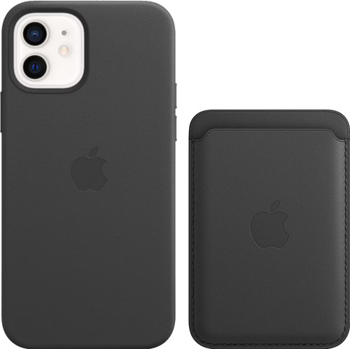 Apple iPhone 12 / 12 Pro Back Cover with MagSafe Leather Black + Leather Card Wallet with Main Image
