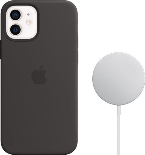 Apple iPhone 12 / 12 Pro Silicone Back Cover met MagSafe Zwart + MagSafe Draadloze Oplader Main Image