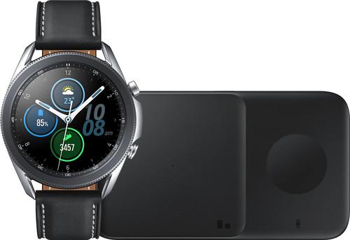 Samsung Galaxy Watch3 Zilver 45 mm + Samsung Draadloze Oplader DUO Pad 9W Zwart Main Image