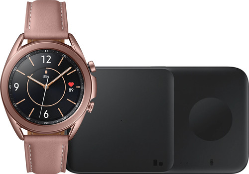 Samsung Galaxy Watch3 Goud 41 mm + Samsung Draadloze Oplader DUO Pad 9W Zwart Main Image