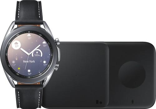 Samsung Galaxy Watch3 Zilver 41 mm + Samsung Draadloze Oplader DUO Pad 9W Zwart Main Image