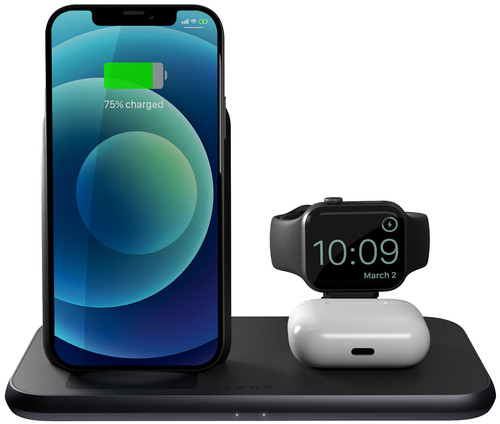 Zens 3-in-1 Wireless Charger 15W with Stand and Apple Watch Charger Black Main Image