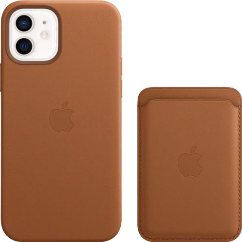 Apple iPhone 12 / 12 Pro Back Cover met MagSafe Leer Bruin + Leren Kaarthouder met MagSafe Main Image