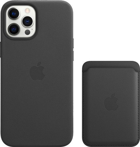 Apple iPhone 12 Pro Max Back Cover with MagSafe Leather Black + Leather Card Wallet with M Main Image