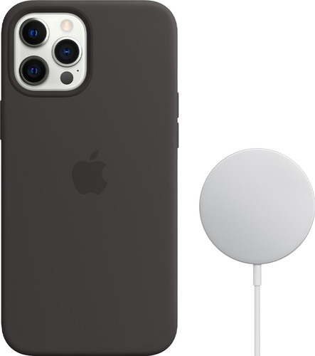 Apple iPhone 12 Pro Max Silicone Back Cover met MagSafe Zwart + MagSafe Draadloze Oplader Main Image