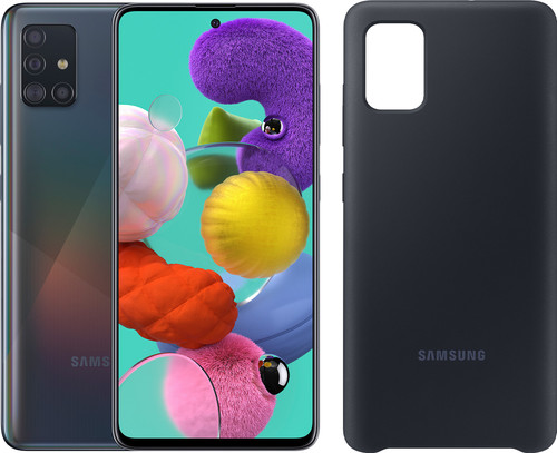 Samsung Galaxy A51 128GB Black + Samsung Galaxy A51 Silicone Back Cover Black Main Image