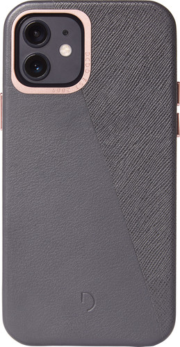 Decoded Dual Apple iPhone 12 / 12 Pro Back Cover Leer Grijs Main Image