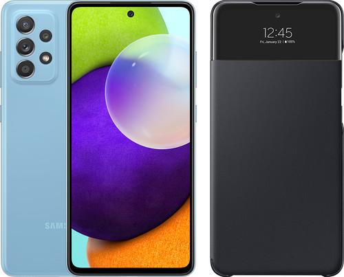 Samsung Galaxy A52 128GB Blauw 4G + Samsung Smart S View Wallet Cover Zwart Main Image