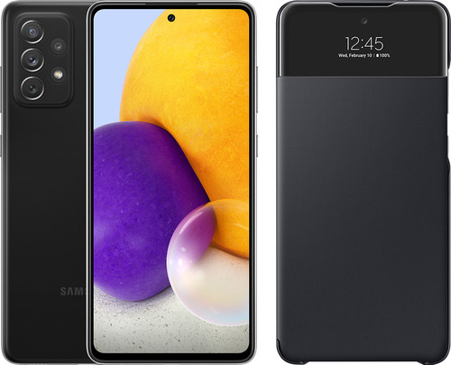 Samsung Galaxy A72 128 GB Zwart + Samsung Smart S View Wallet Zwart Main Image