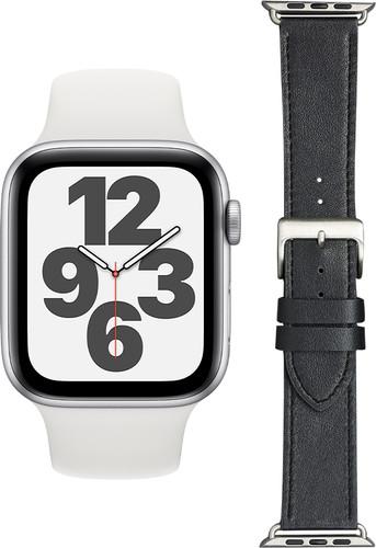 Apple Watch SE 44mm Zilver Wit Bandje + DBramante1928 Leren Bandje Zwart/Zilver Main Image