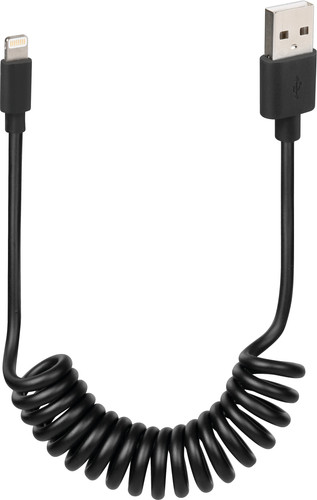 Lampa Usb A naar Lightning Krulkabel Zwart 1m Main Image