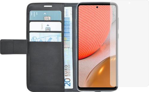 Azuri Wallet Samsung Galaxy A72 Book Case Zwart + Azuri Tempered Glass Screenprotector Main Image