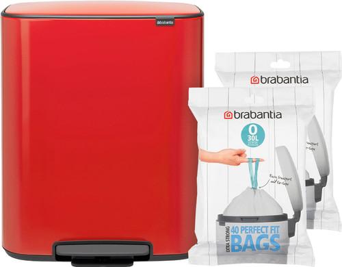 Brabantia Bo Pedal Bin 2x 30 Liter Passion Red + Trash Bags (80 units) Main Image