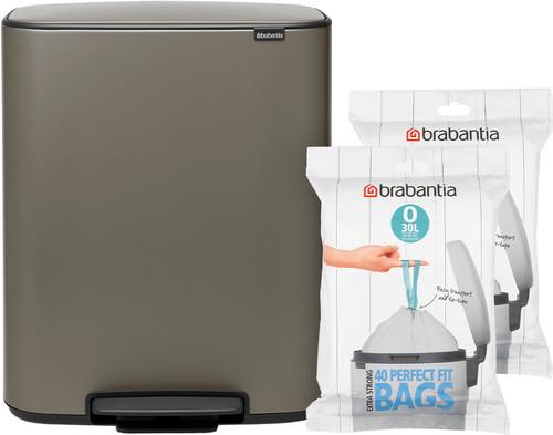 Brabantia Bo Pedal Bin 2x 30 Liter Platinum + Trash Bags (80 units) Main Image