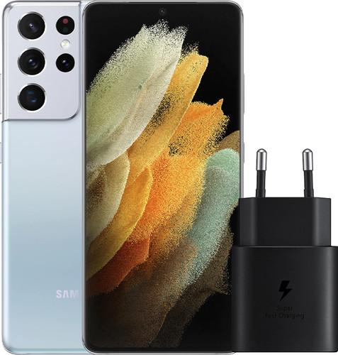Samsung Galaxy S21 Ultra 128GB Zilver 5G + Samsung Snellader Zonder Kabel 25W Main Image