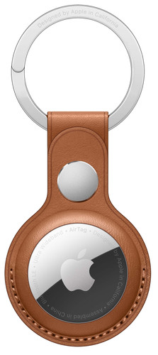 Apple AirTag Leather Key Ring Saddle Brown Main Image
