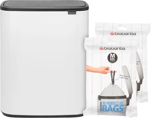 Brabantia Bo Touch Bin 60 Liter Wit + Vuilniszakken (60 stuks) Main Image