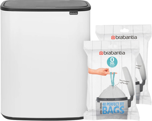 Brabantia Bo Touch Bin 2 x 30 Liter Wit + Vuilniszakken (80 stuks) Main Image