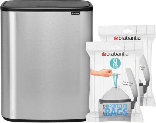 Brabantia Bo Touch Bin 2 x 30 Liter Staal Vingerafdruk Proof + Vuilniszakken (80 stuks) Main Image