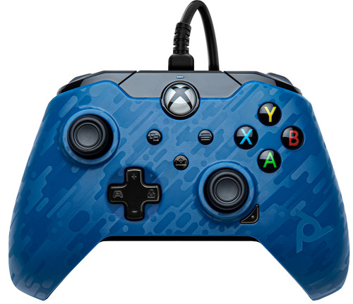 PDP Wired Controller Xbox Series X and Xbox One Blue Camo Main Image